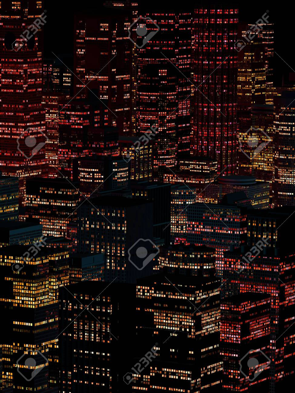 night landscape of a city with tall houses - 96991199