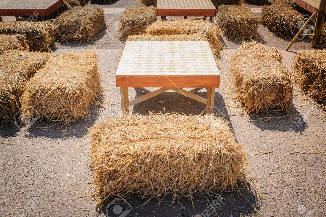 Stock Photo   Table And Straw Chair In Contryside