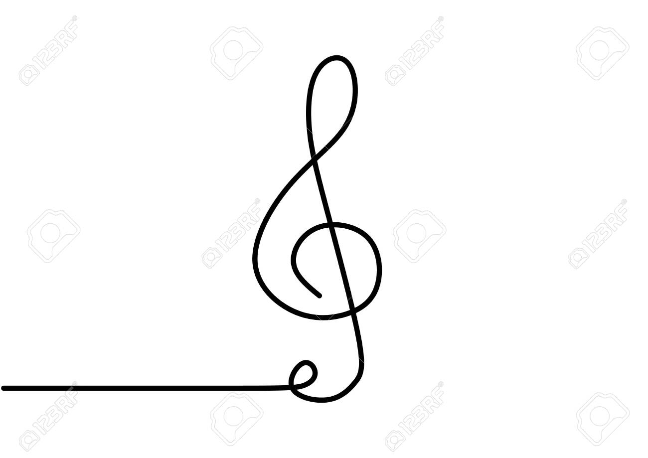 Continuous One Line Drawing Of Music Note With G Key Symbol Minimalism