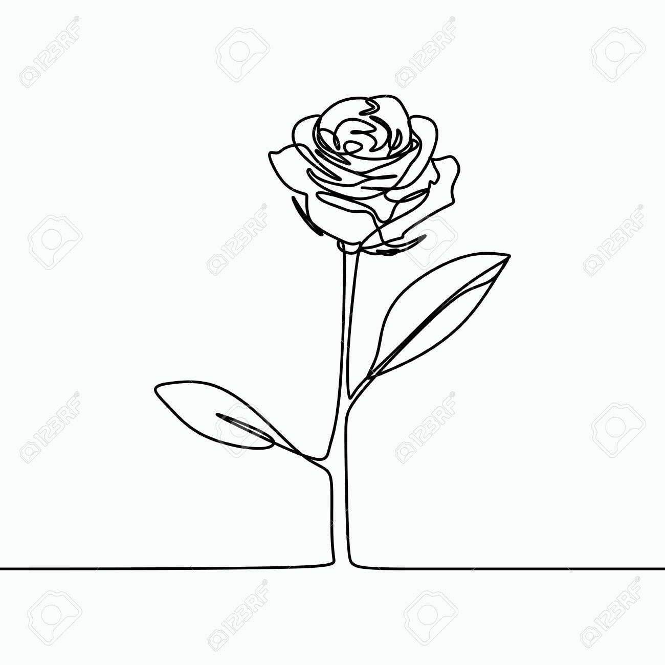 One Line Drawing Of A Rose Flower Minimal Modern And Simple Royalty Free Cliparts Vectors And Stock Illustration Image 128954889