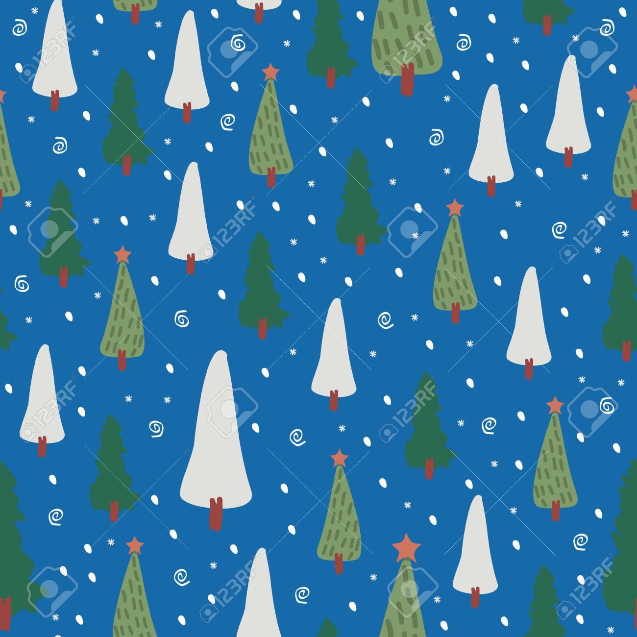 Christmas Tree Seamless Pattern Vector Illustration Trendy Drawing