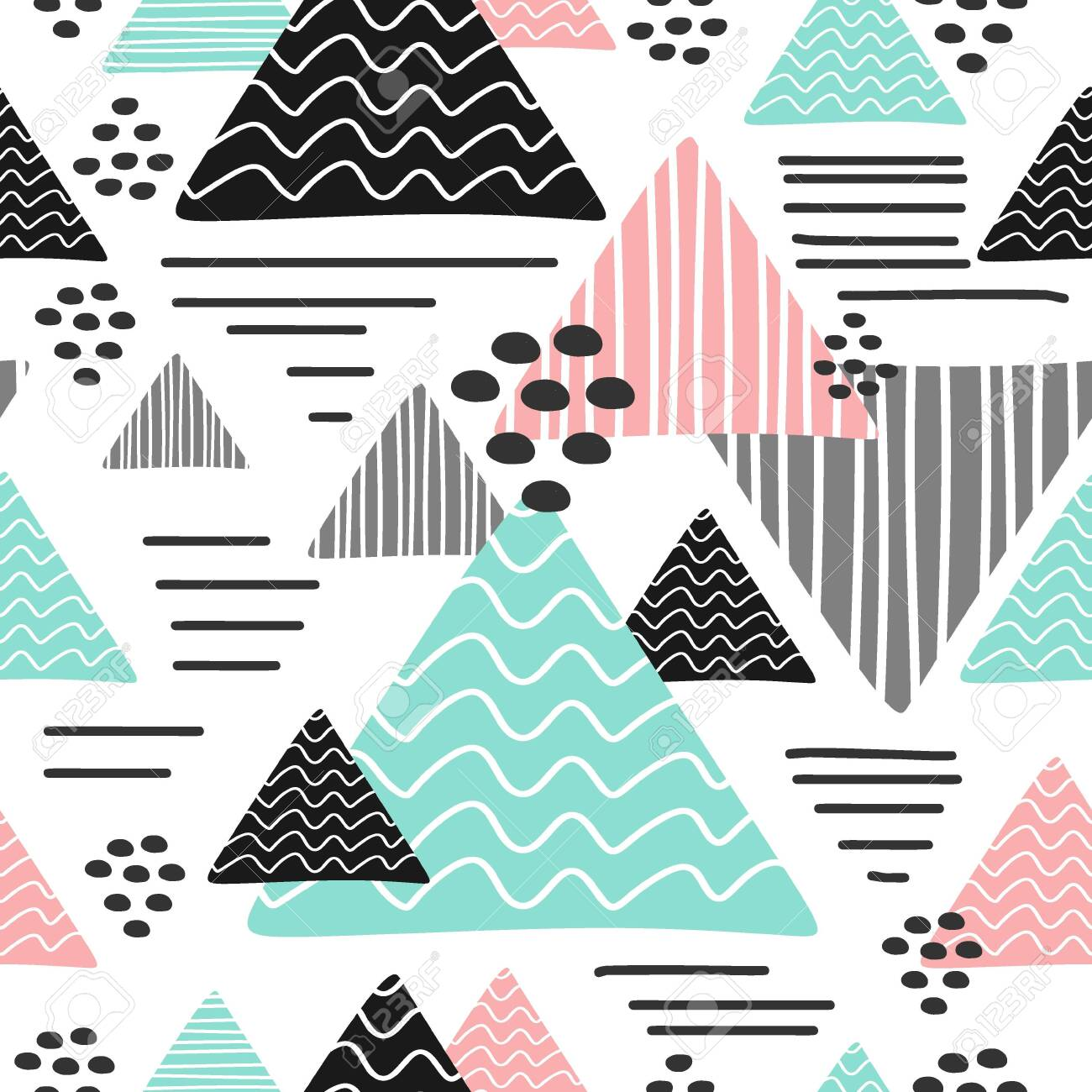 Seamless trendy triangle pattern multicolor - 129510571