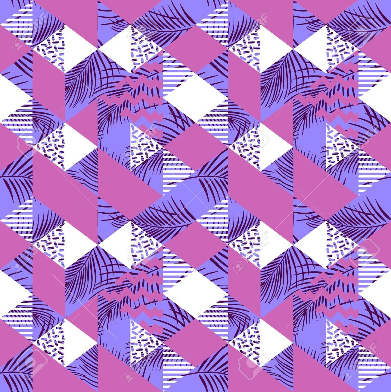 Feminine geometric triangle abstract seamless pattern - 129460211