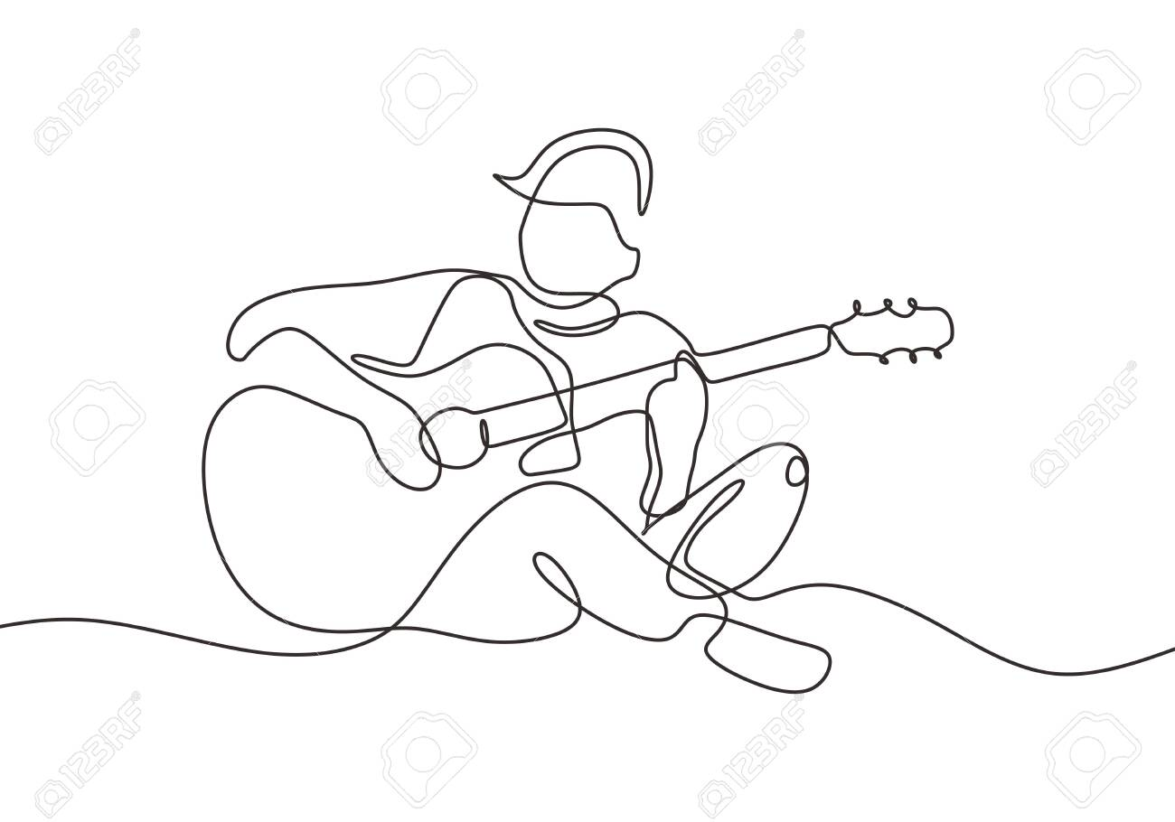 Continuous One Line Drawing Of Person Playing Acoustic Guitar Royalty Free Cliparts Vectors And Stock Illustration Image 129614542
