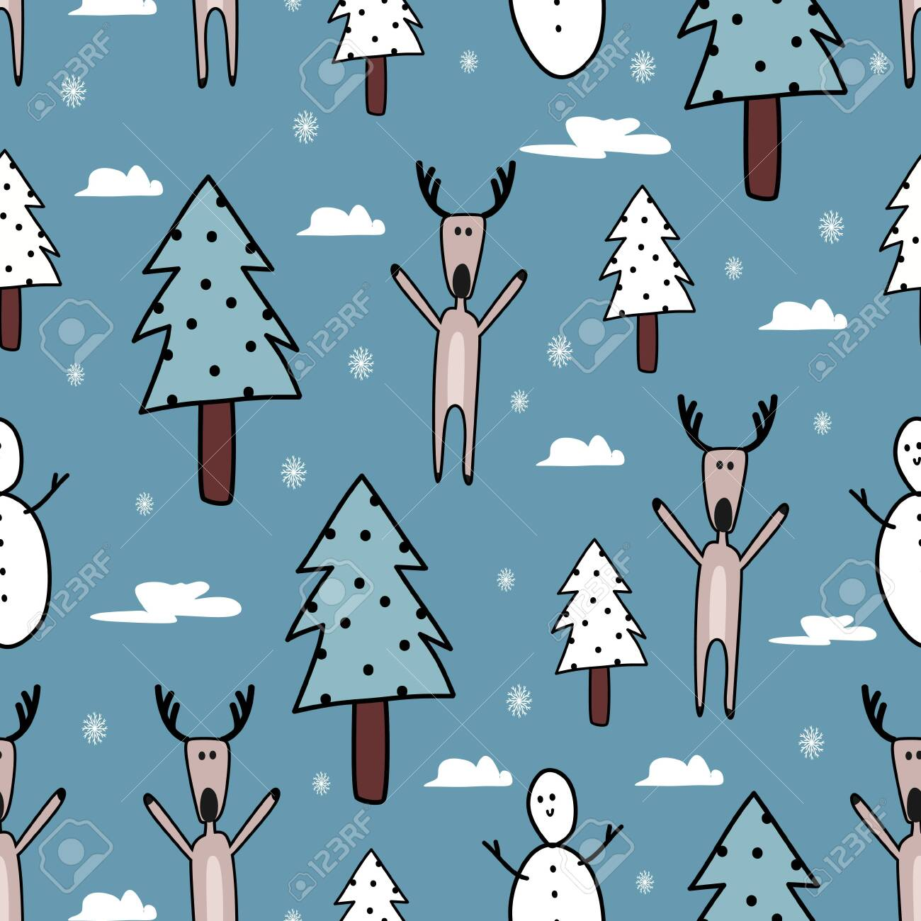 Colorful Christmas Background For Kids.Cute Christmas Doodle Seamless Pattern Colorful Background Vector