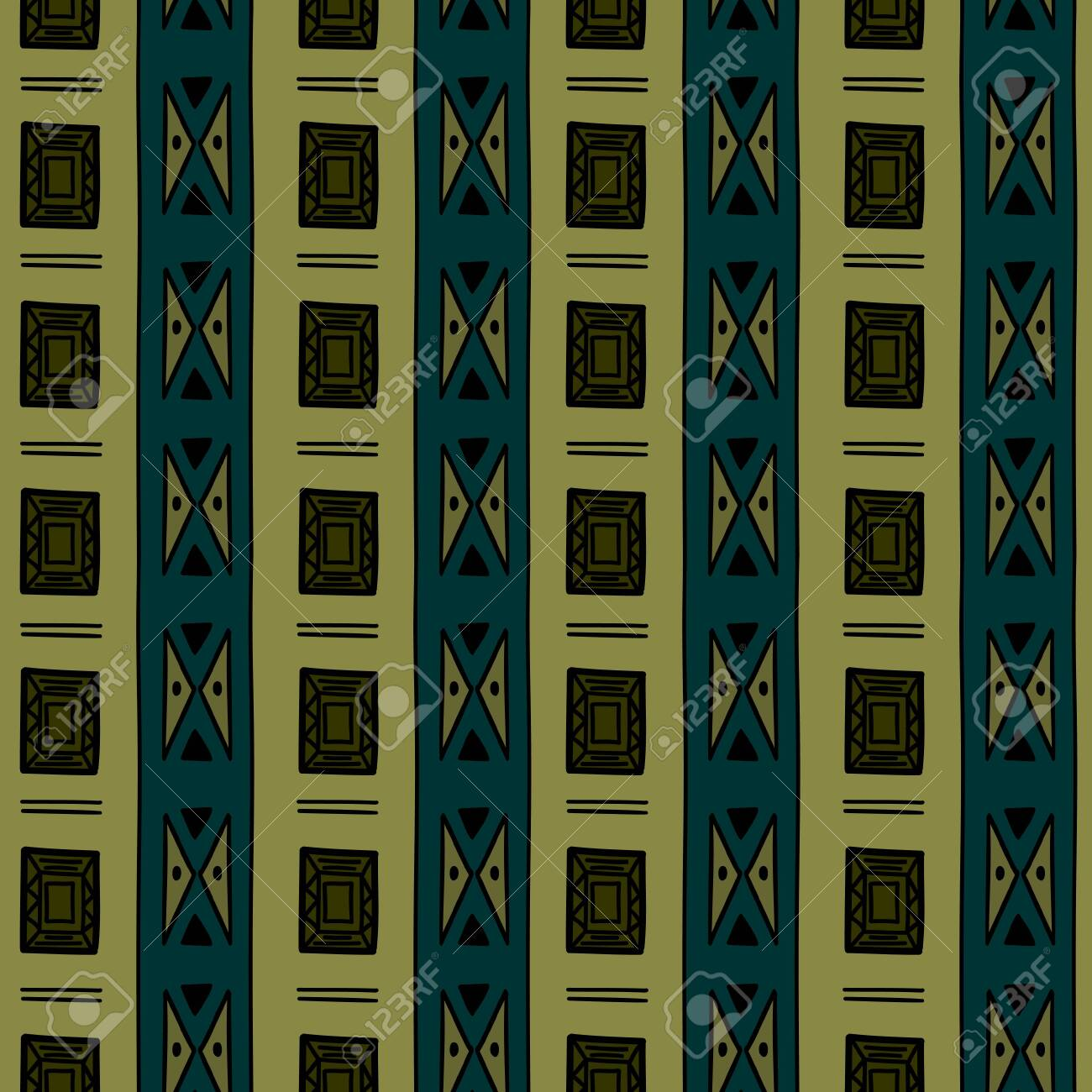 Aztec seamless pattern with luxury tribal hand drawn multicolor background. Ethnic drawing symbol vector illustration for fashion wrapping and textile print. - 129611361