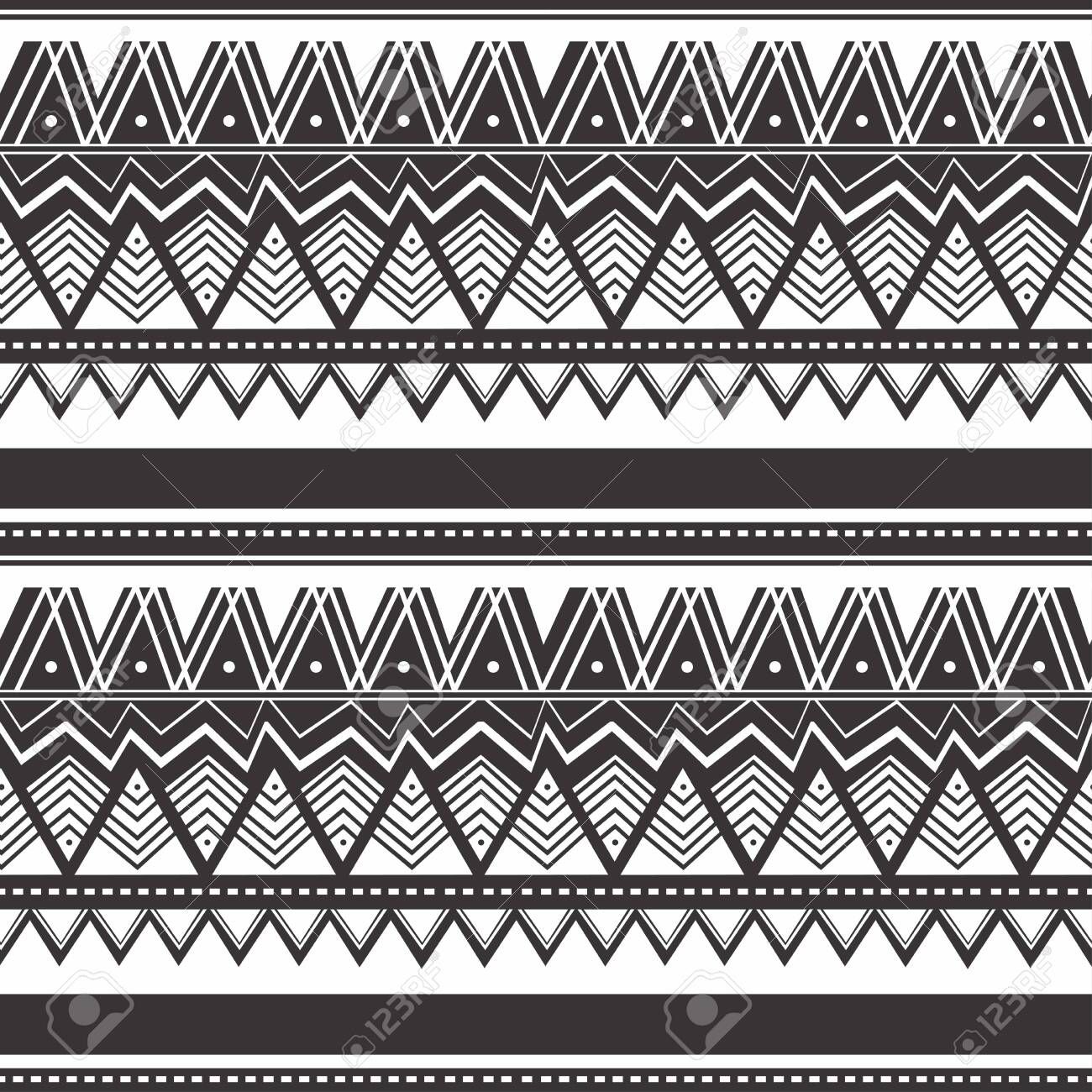 Seamless vintage pattern with Ethnic and tribal motifs. Colorful design Maori style design. Vector illustration. - 130588612