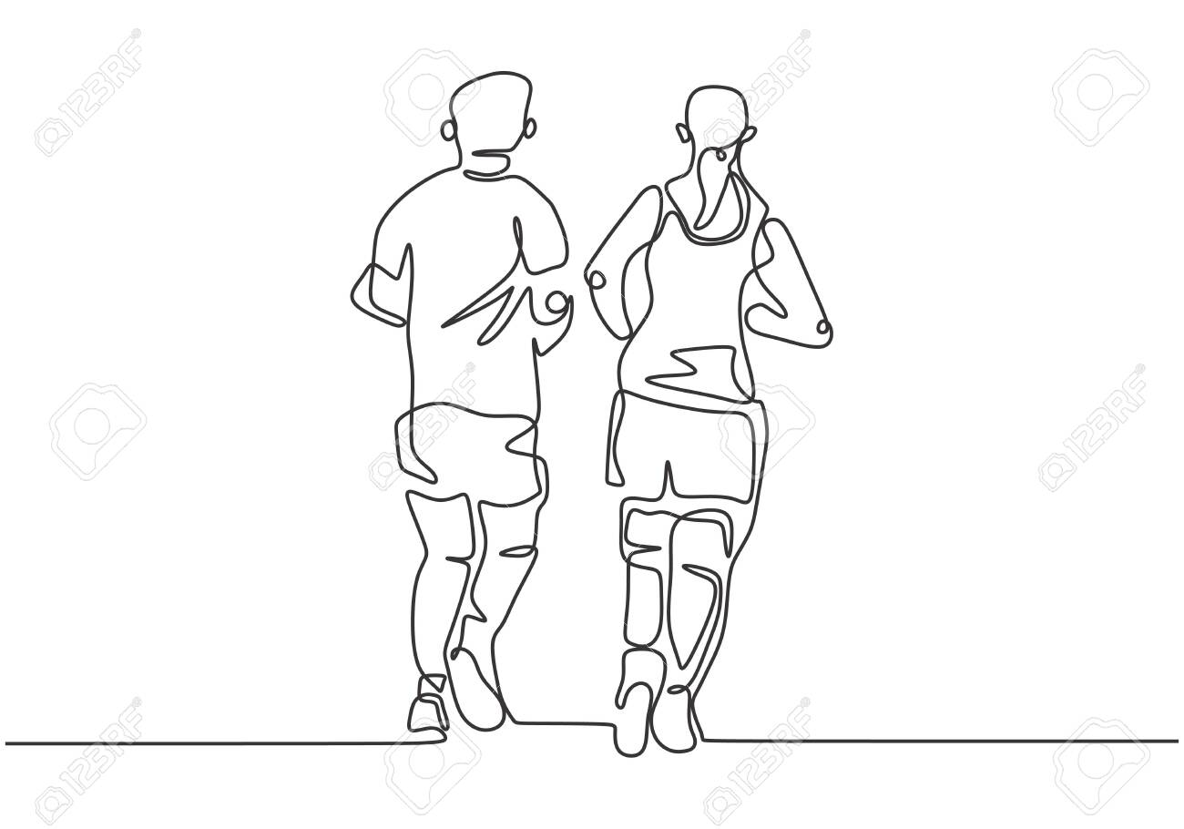 Continuous one line drawing of people running. Sportsman and sportswoman doing exercise to make body fit. - 133186738