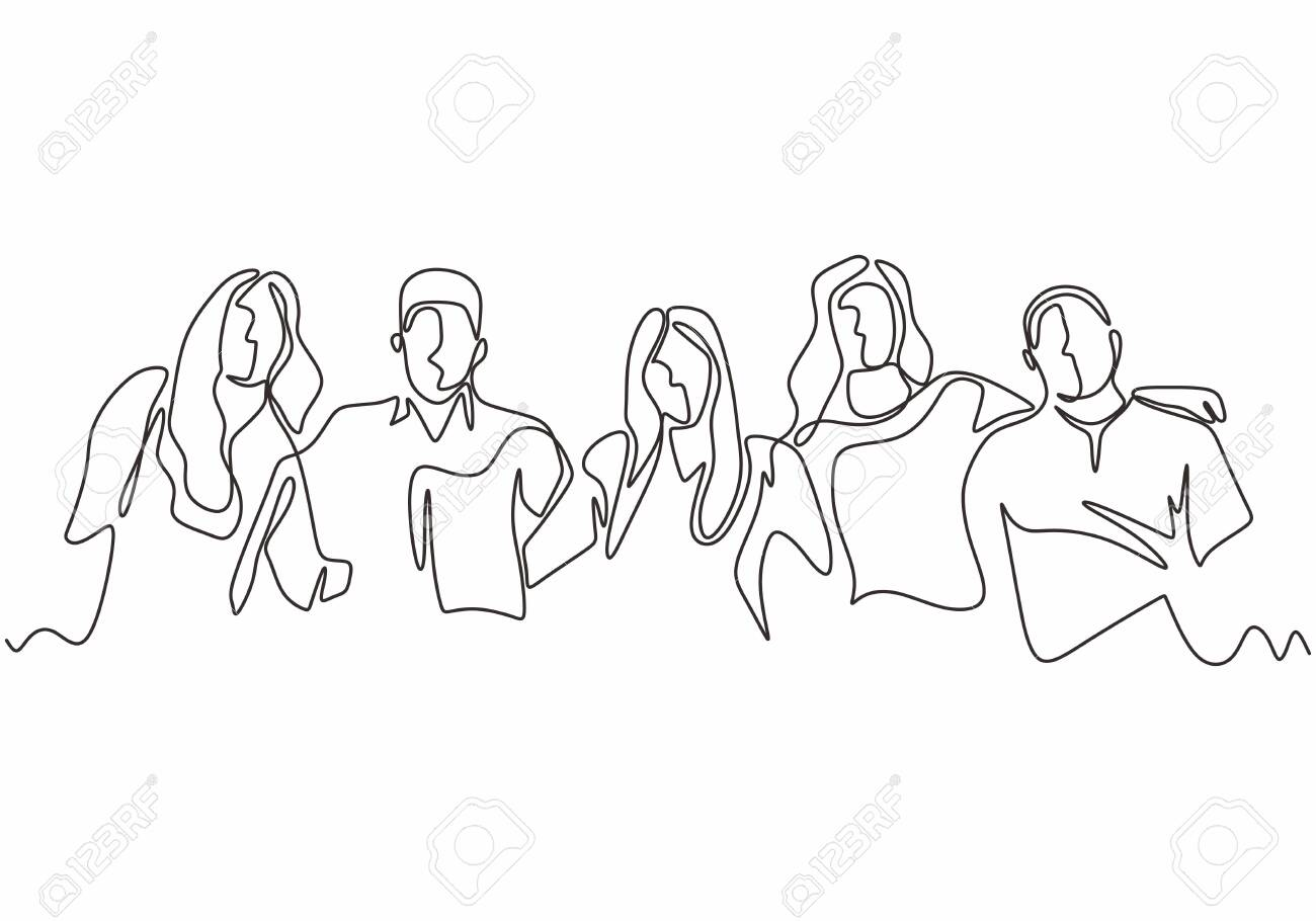 Continuous one line drawing of diversity concept of people with minimalism hand drawn. Vector man and woman in the group of five persons in different age and gender. Simplicity design illustration. - 133922952