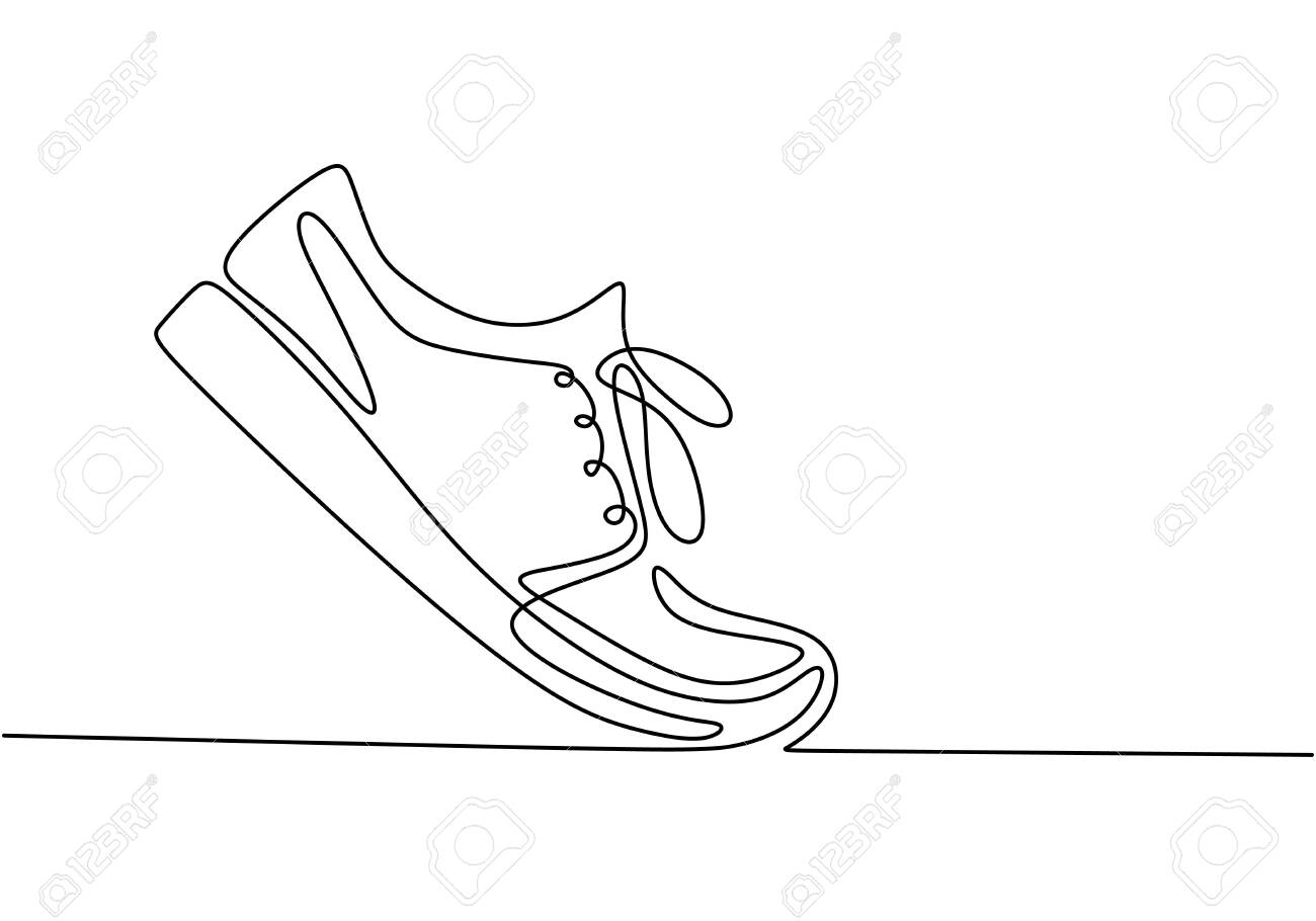 Vector illustration of sneakers. Sports shoes in a line style. Continuous one line drawing minimalism design. - 134323286
