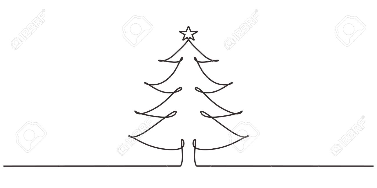 Christmas Tree One Line Drawing Minimalism Design Royalty Free Cliparts Vectors And Stock Illustration Image 135895478