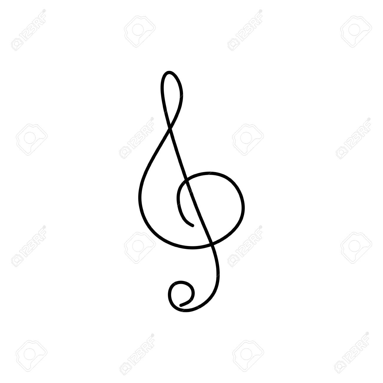 Continuous Line Drawing Of Music Note Symbol Royalty Free Cliparts Vectors And Stock Illustration Image 137587733
