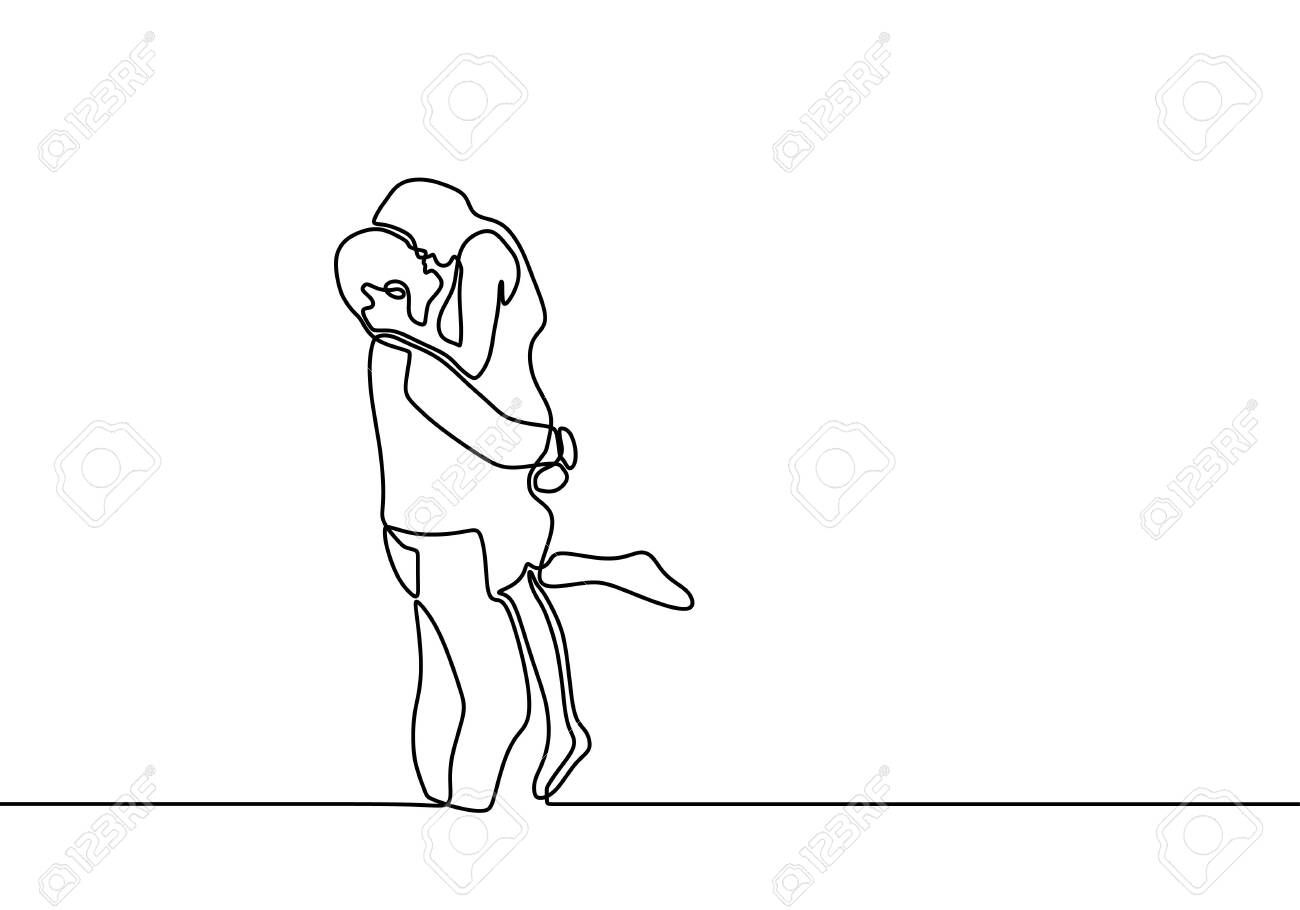 One Line Couple In Love Drawing Of Romantic Continuous Hand Royalty Free Cliparts Vectors And Stock Illustration Image 140420953