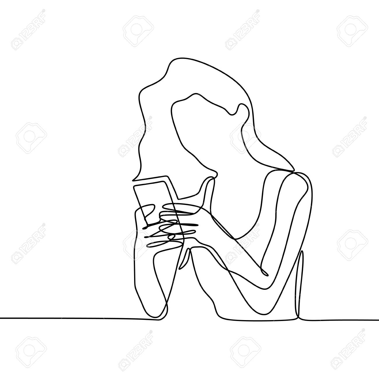 Girl playing and using smart phone continuous line drawing. One lineart of women communication concept vector with mobile gadget technology minimalism design illustration. - 144287288