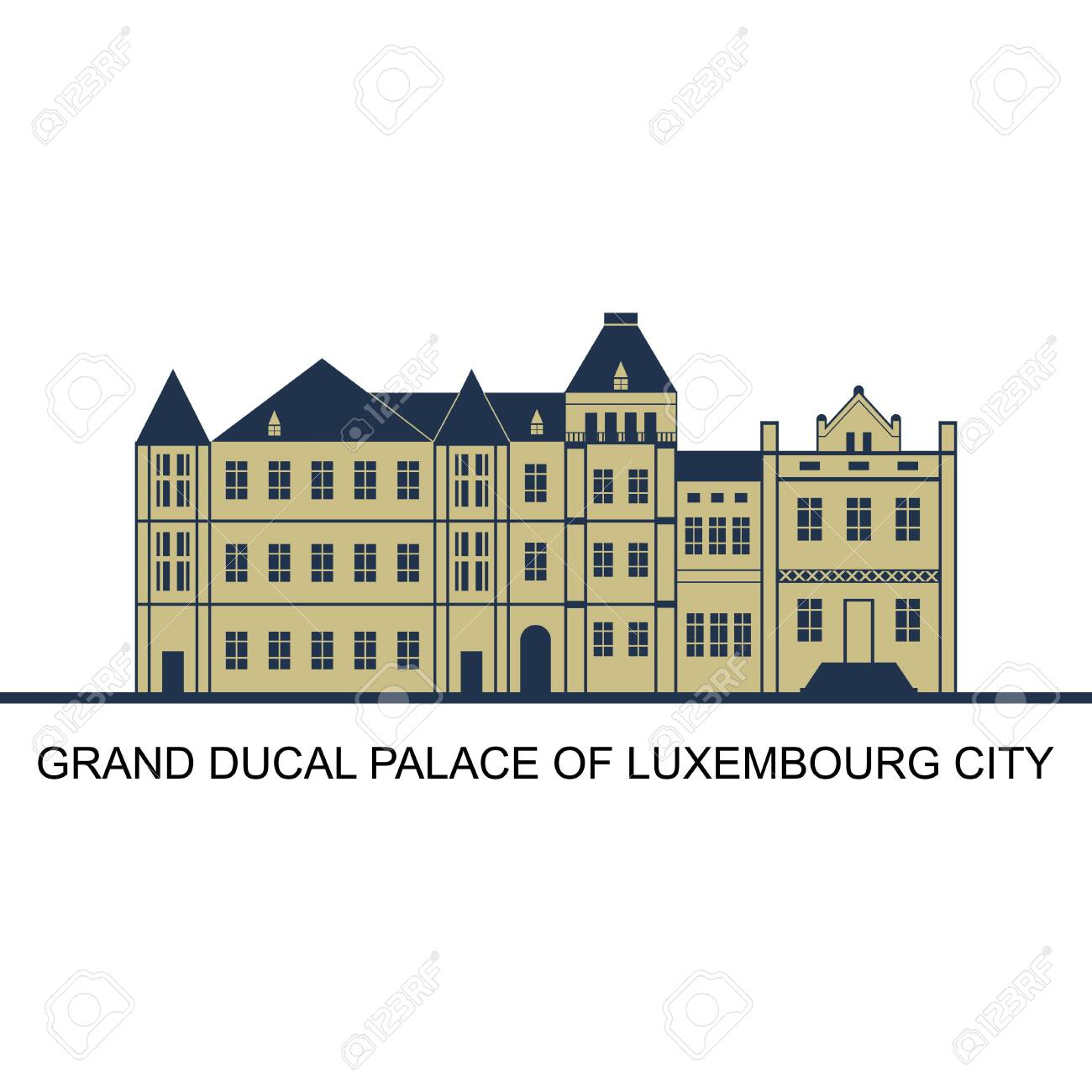 Facade of Grand Ducal Palace in Luxembourg City, Luxembourg. Majestical interior and splendid above stairs can be visited exclusively during summer. Tourism and vacation theme. World famous landmark - 157783459