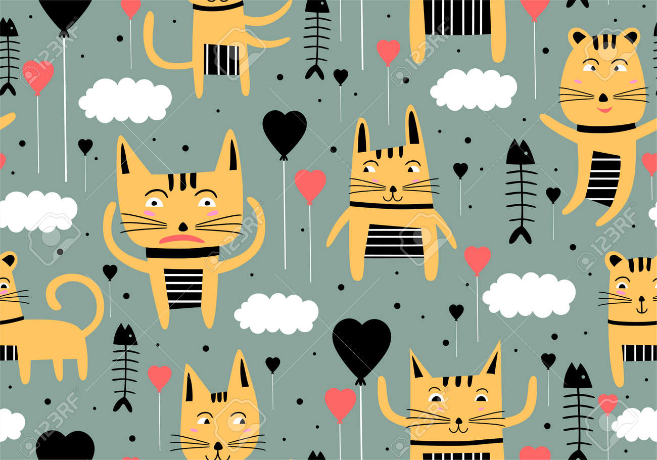 Vector seamless pattern with hand draw cats. Cute colorful kittens and fish on grey background. Creative nursery background. Perfect for kids design, fabric, wrapping, wallpaper, textile, apparel - 157293555