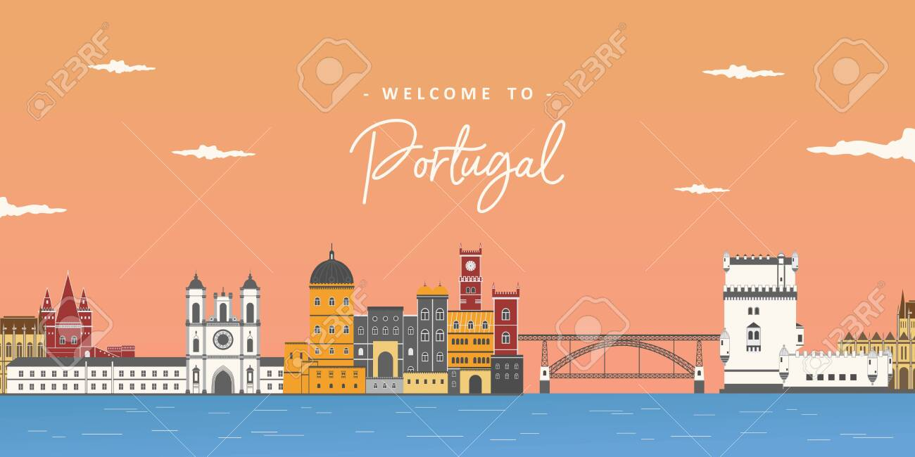 Aerial beautiful view in Portugal. Stylish colorful landmarks. Alcobaca Monastery, Pena palace, Dom Luís I Bridge and Belem Tower. It is good for travel destination. Journey around the world - 157788283