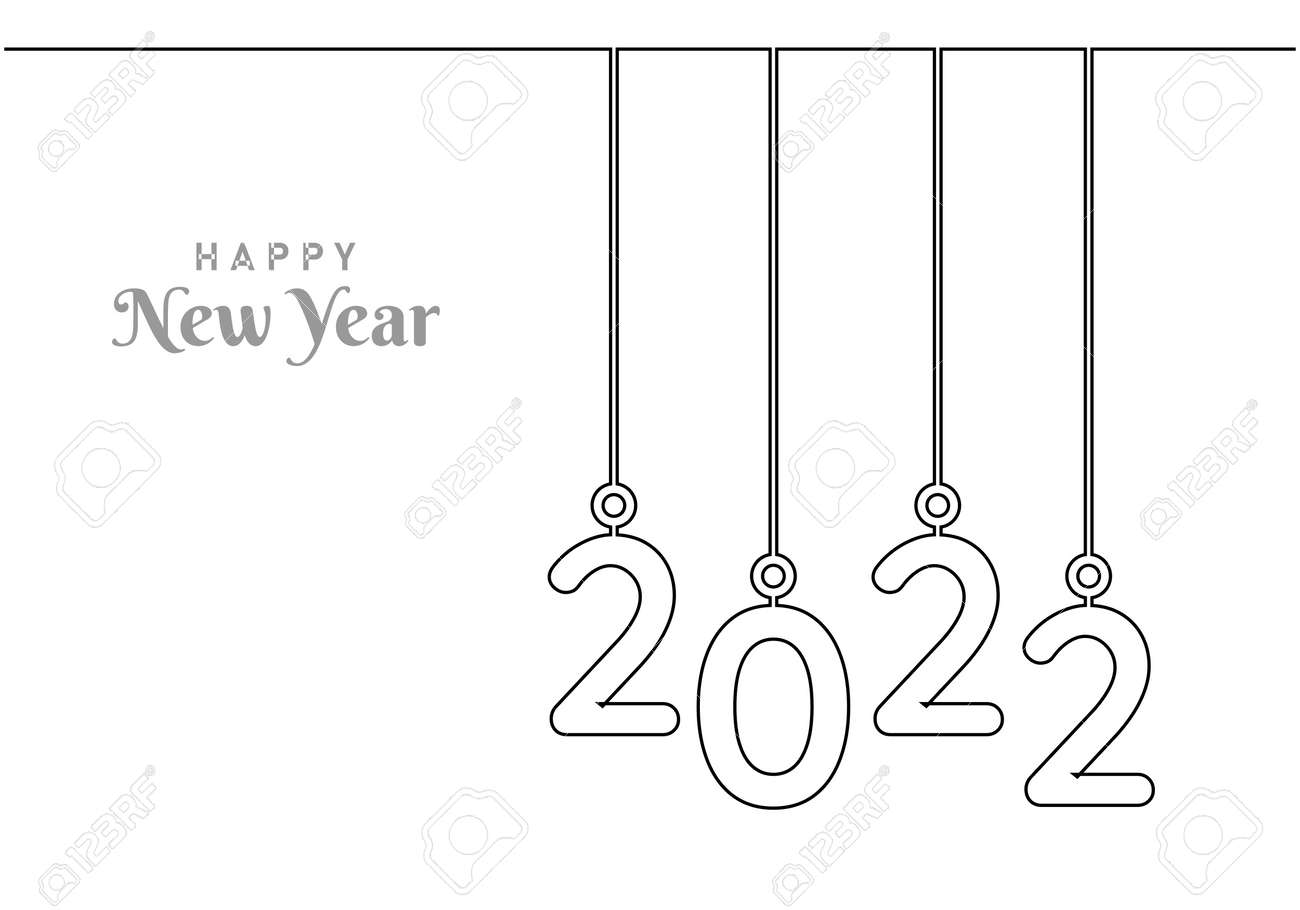 """Continuous one line drawing of a """"2022"""" new year text. Chinese New year of the tiger handwritten 2021 lettering. Celebration New Year concept isolated on white background. Vector sketch illustration - 173272742"""