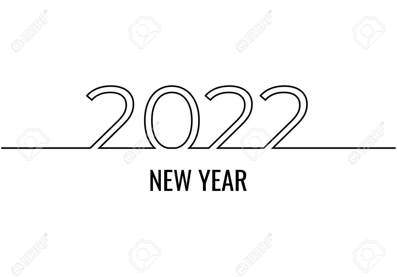 new year 2022 continuous one line drawing, minimalist text vector illustration, isolated on white background for celebration and banner. - 173207214