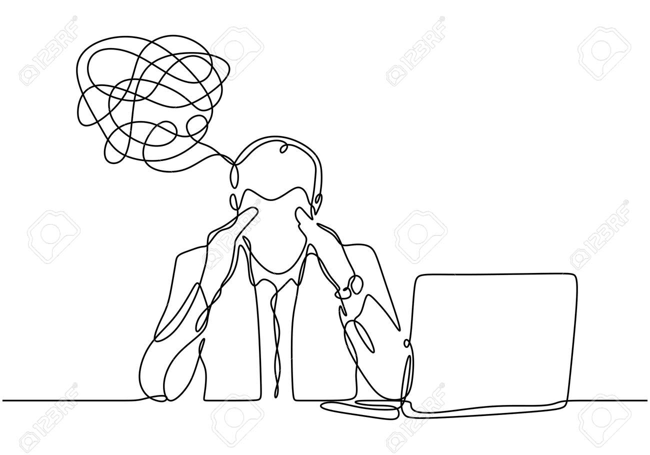 continuous line drawing of depressed man with problem in mind, vector illustration businessman has trouble and stress with his job in office. - 173272718