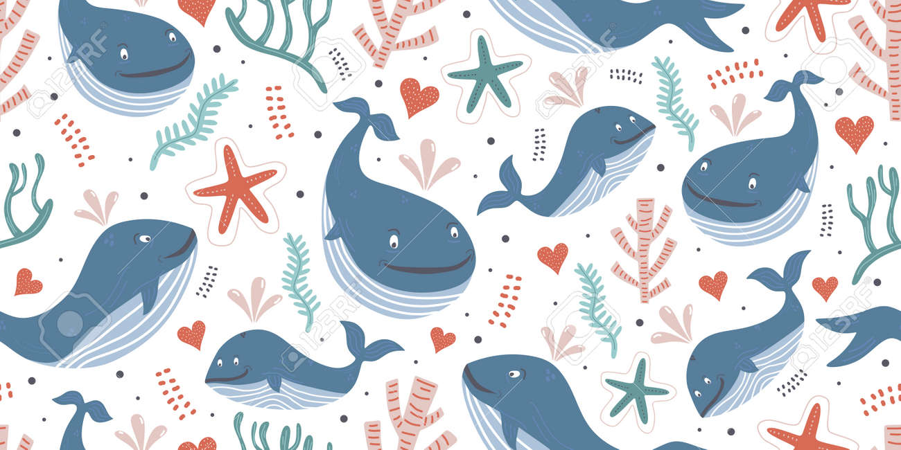 Whales seamless pattern with ocean theme for baby print. Cute baby animals. Pattern for kids with whales. Kids design. - 173272721