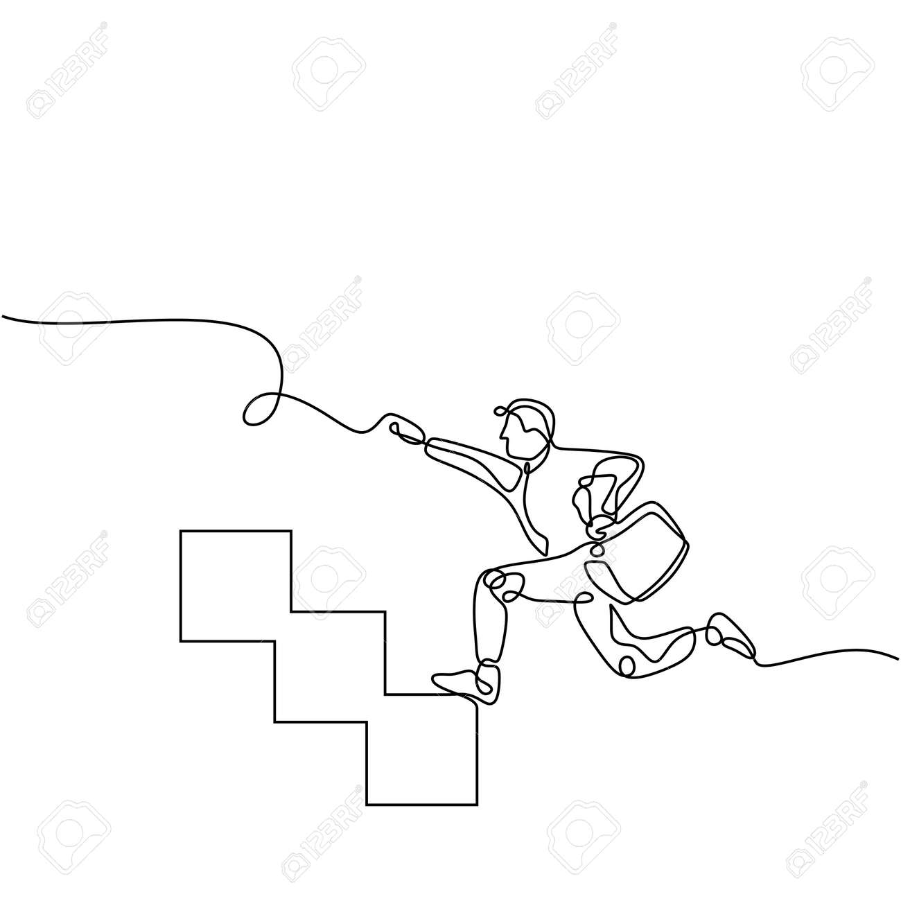 Stairway to success - continuous line drawing, Man running fast up stairs to reach his goals.Metaphor business success and boost personal career. - 173207198