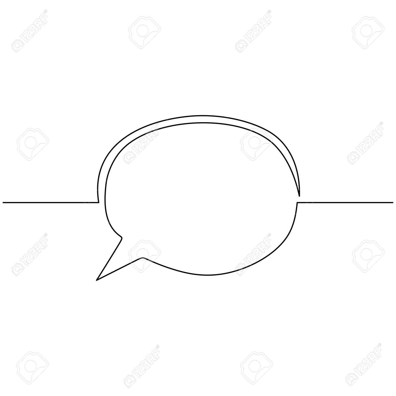 speech bubble continuous line drawing, black and white graphic vector minimalist. One line simple hand drawn. - 173207432