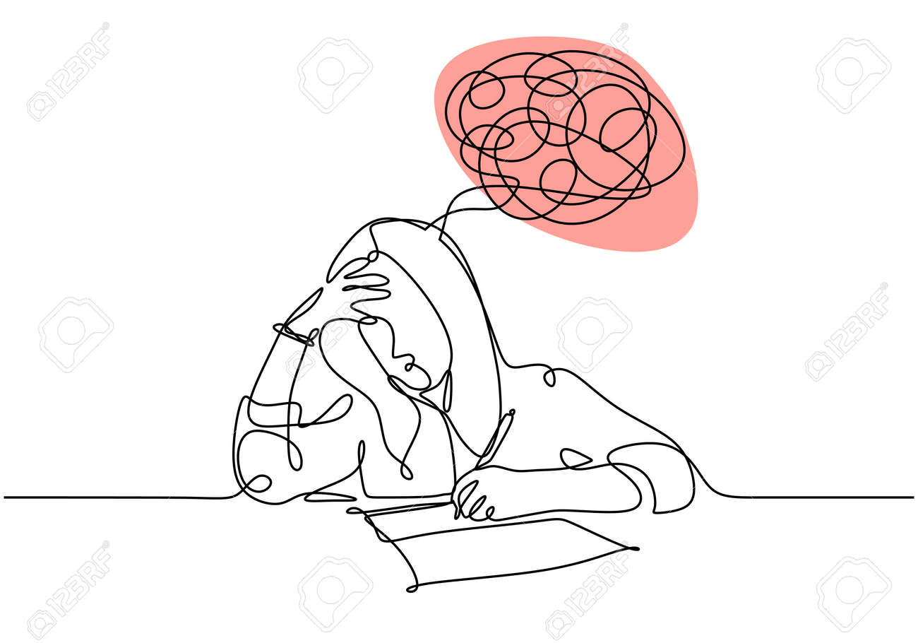 One line drawing of woman have problem and headache. Vector of a student girl doing examination. - 173206885