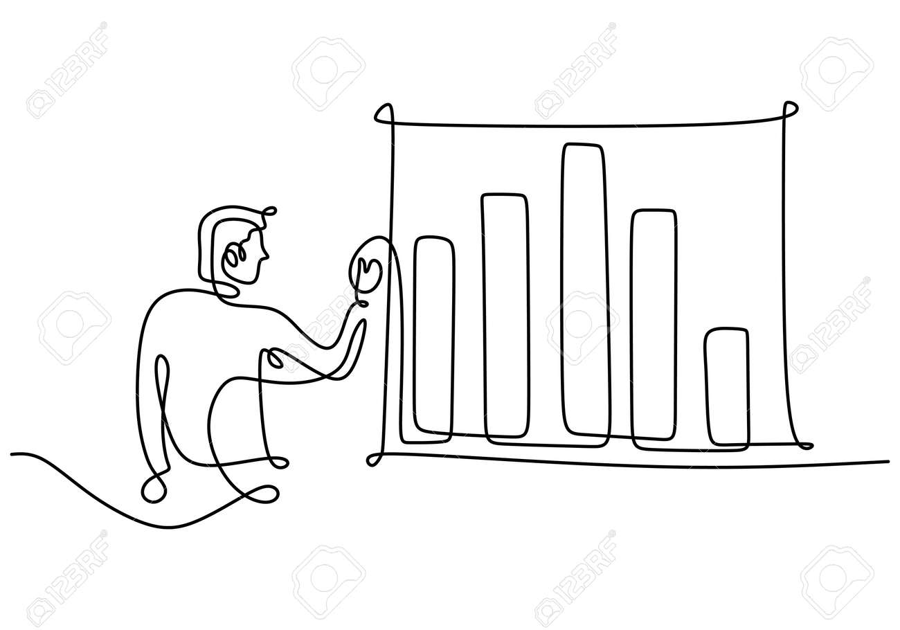 Continuous one line of man doing business presentation. A professional businessman presenting economic graphic on white board. Workshop presentation concept hand drawn line art minimalism design - 173324579