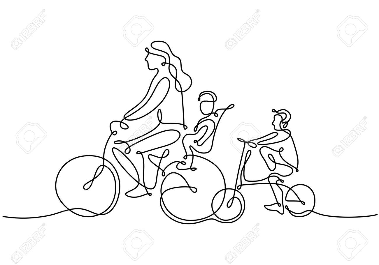 One continuous line drawing of mother riding bicycle with her child at countryside together. Character of a woman with her son riding a bicycle. Parenting concept. Vector illustration - 173324476