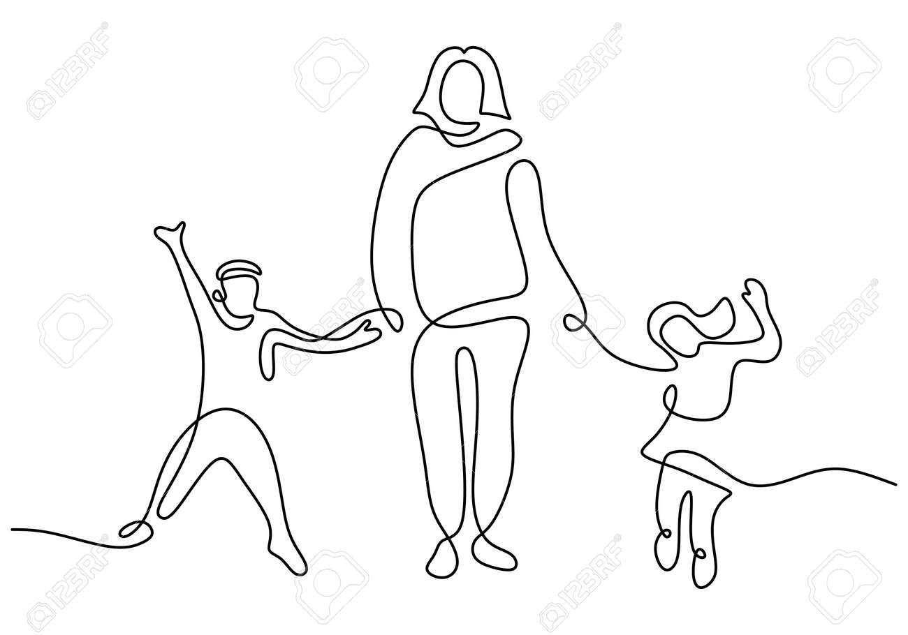 Happy mom with her two children in continuous line art drawing style. Young mother holding her children and walking together isolated on white background. Family concept. Vector illustration - 173324225