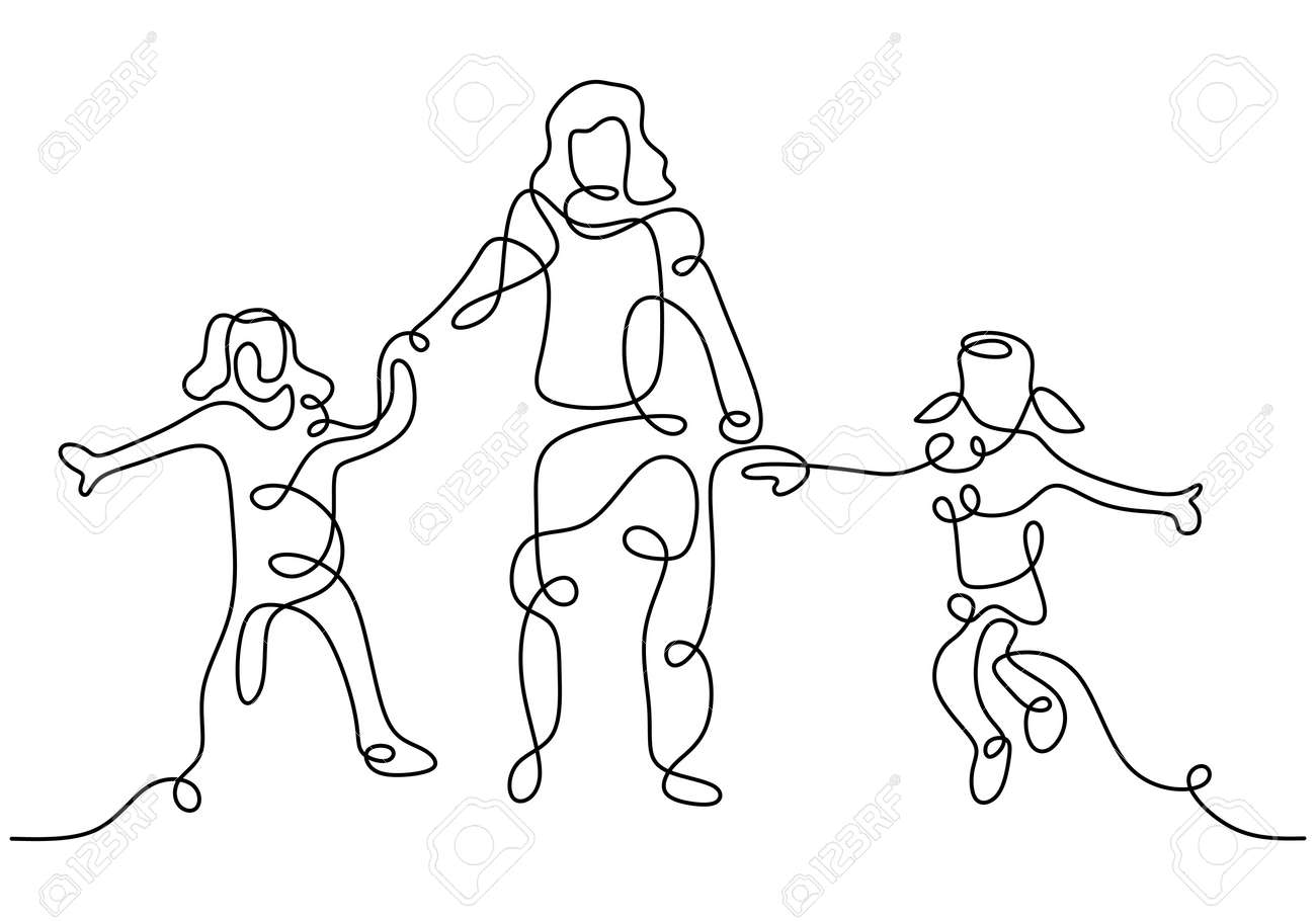 Happy mom with her two children in continuous line art drawing style. Young mother holding her children and walking together isolated on white background. Family concept. Vector illustration - 173324602