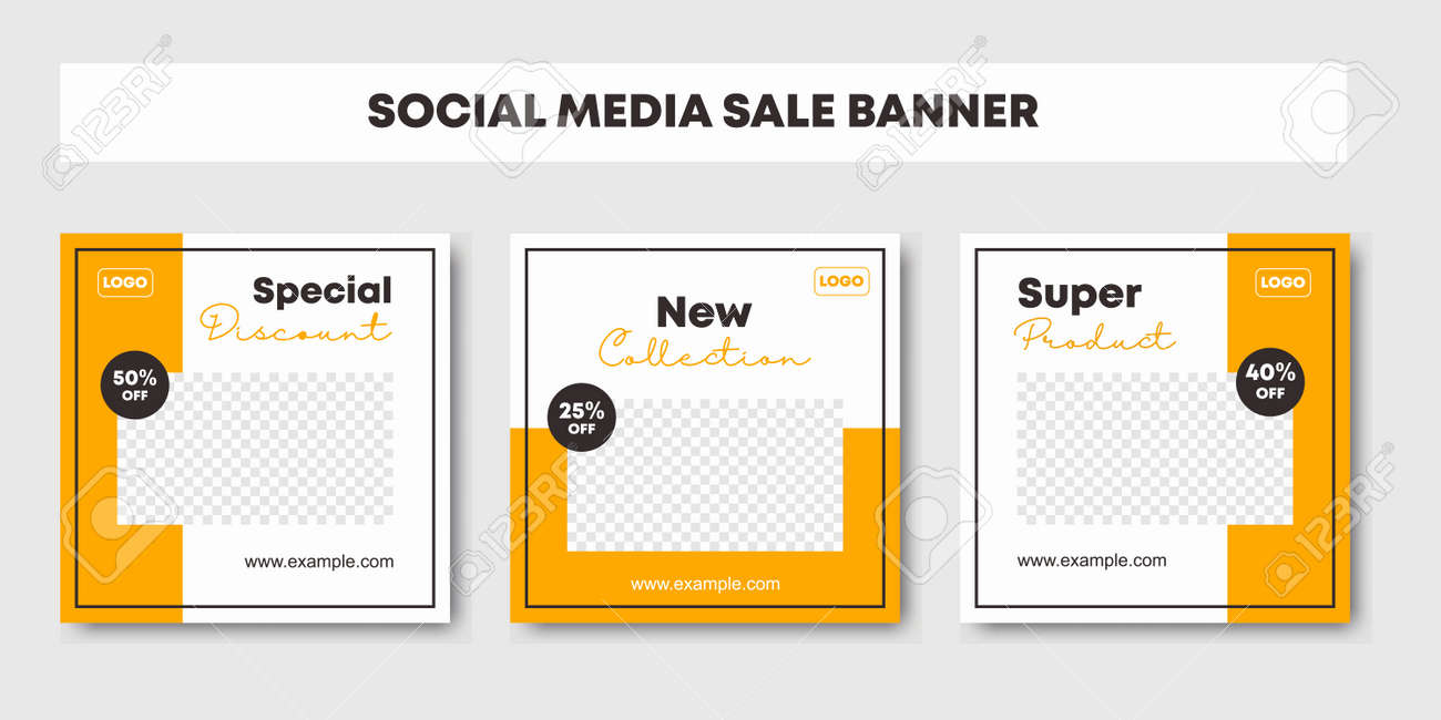 Set collection of editable minimal square banner template. Black and yellow background color background for social media post and web internet ads. Fashion sale promotion. Vector illustration - 173331548