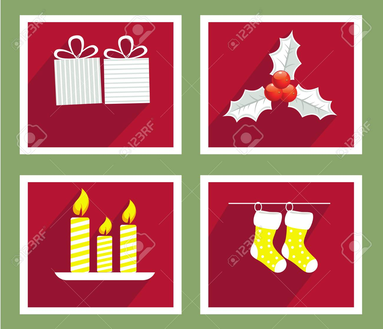 Set Of Elements For Christmas And New Year Greeting Cards Royalty