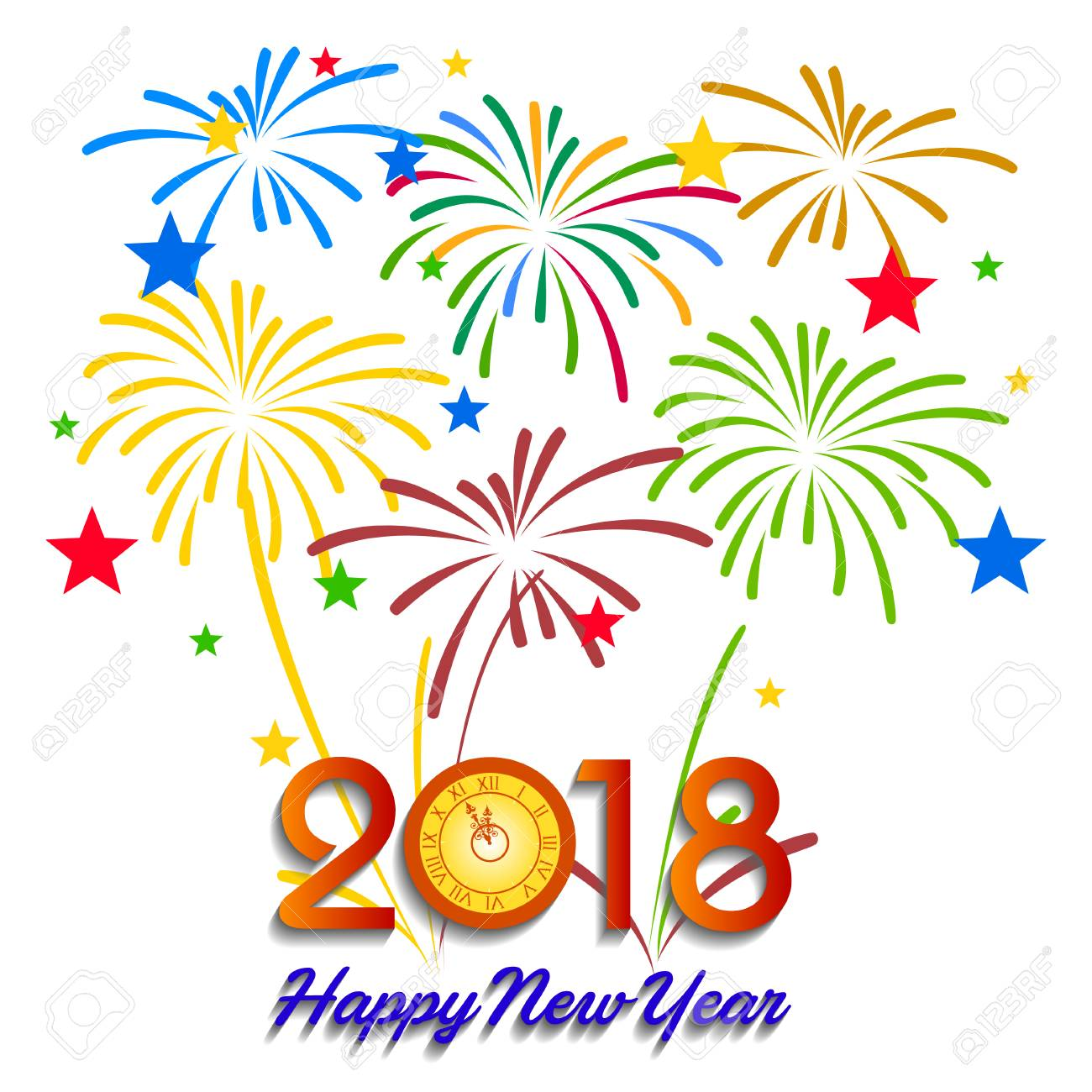 Vector   Vector Illustration Of Colorful Fireworks. Happy New Year 2018  Theme
