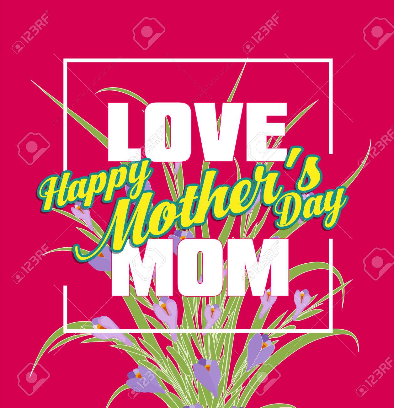 Happy mothers day lettering mothers day greeting card with flowers happy mothers day lettering mothers day greeting card with flowers stock vector 74220698 m4hsunfo