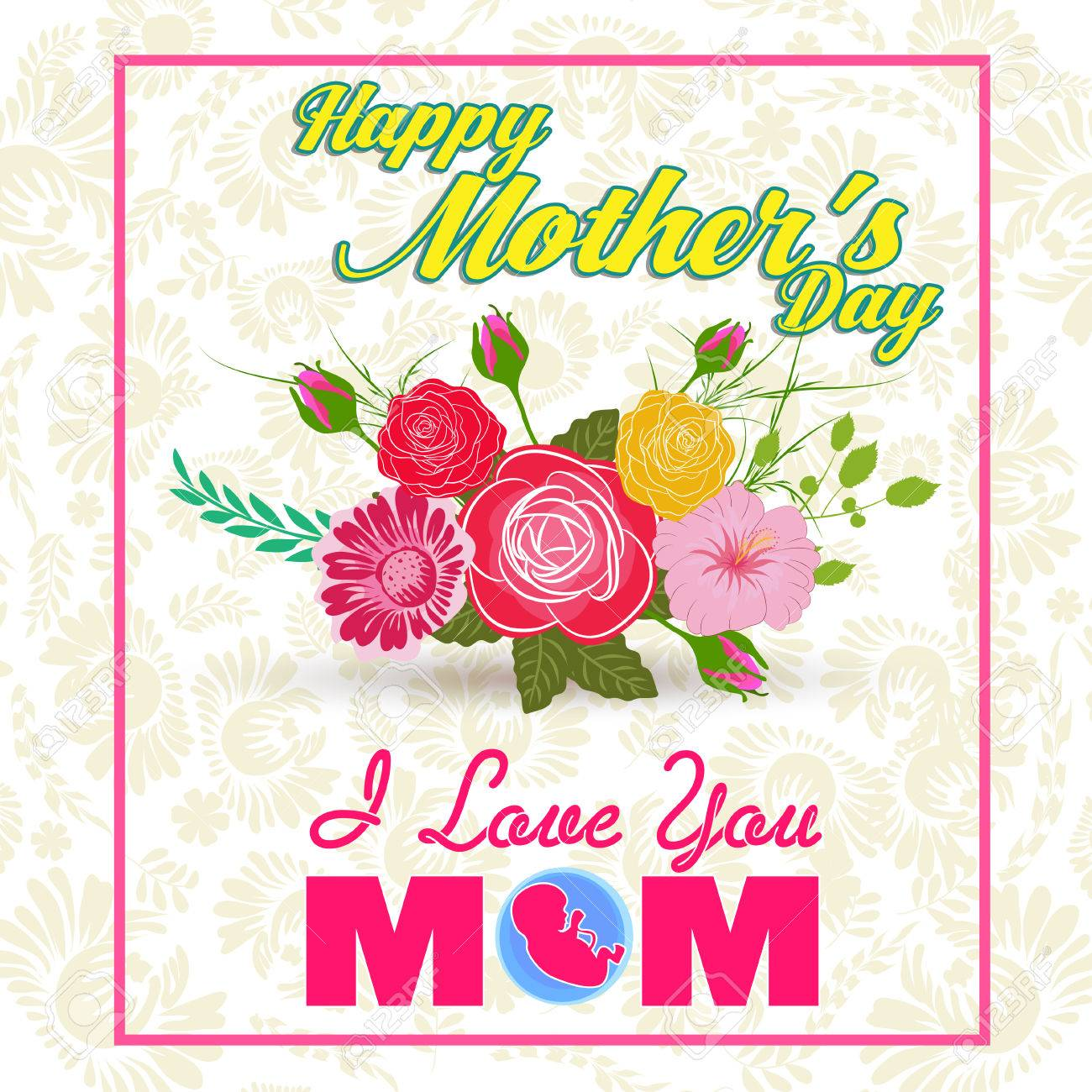 Happy mothers day lettering mothers day greeting card with flowers happy mothers day lettering mothers day greeting card with flowers stock vector 75284430 m4hsunfo
