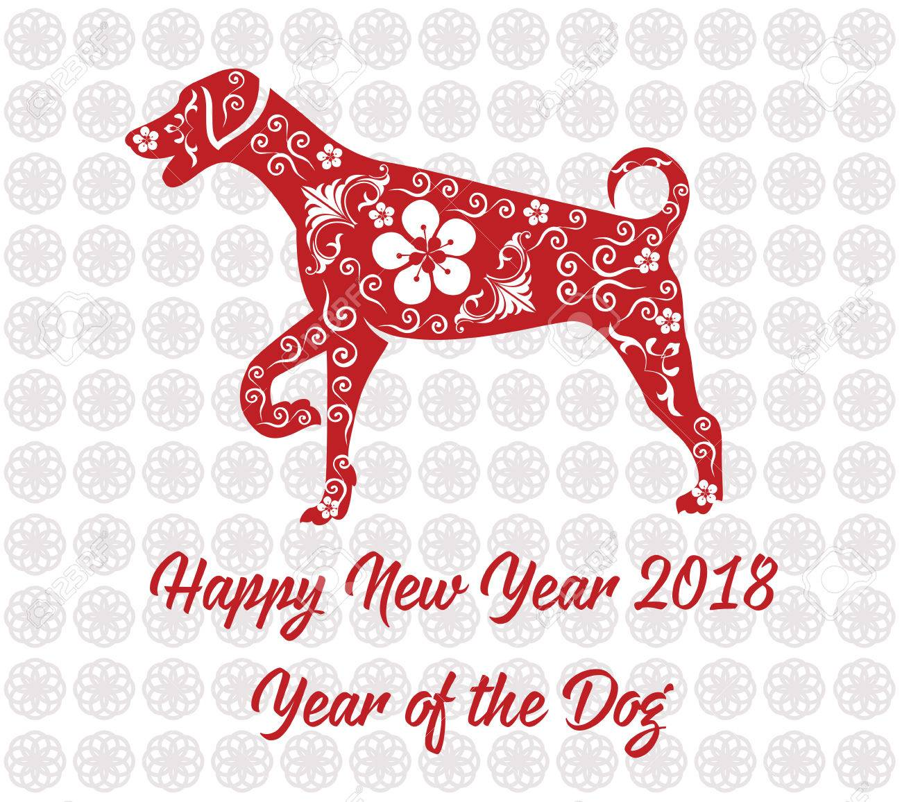 Happy Chinese New Year Card 2018 Year Of Dog. Royalty Free Cliparts ...