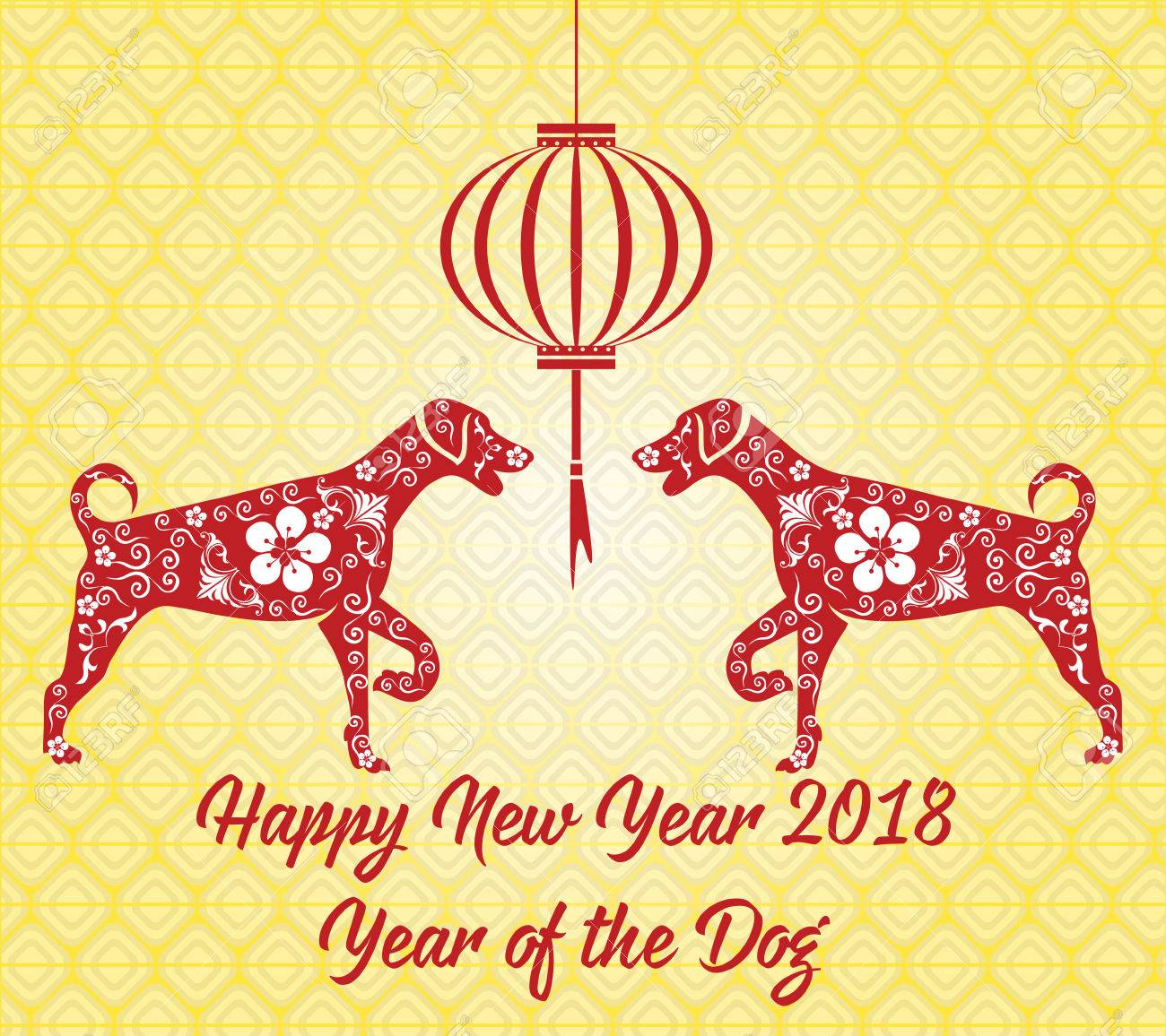 happy chinese new year card 2018 year of dog stock vector 75398877