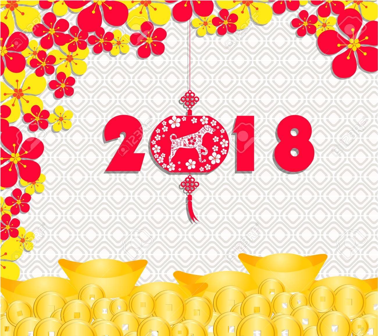 happy chinese new year 2018 card is gold coins money year of dog stock
