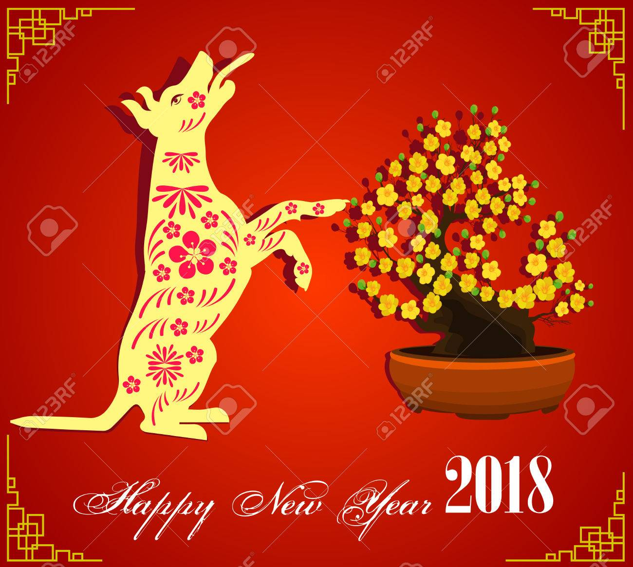 happy new year 2018 brush celebration chinese new year of the dog lunar new year