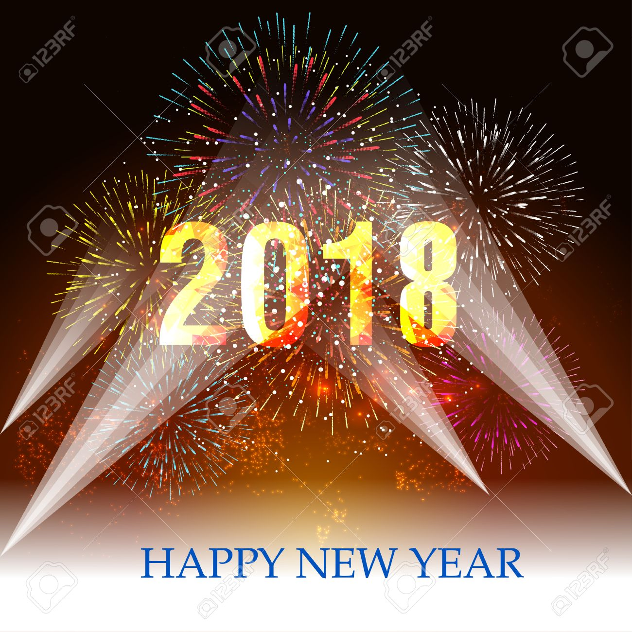 happy new year 2018 with firework background and spotlight stock vector 86204157
