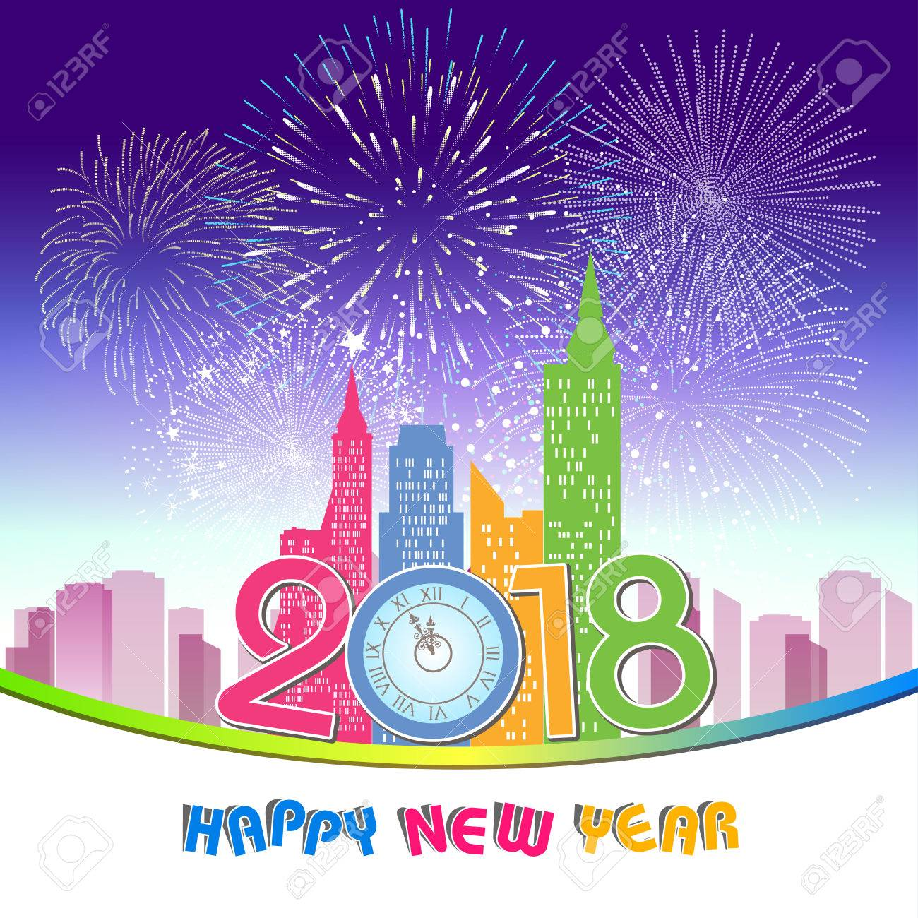 happy new year 2018 with fireworks and silhouette of city skyline stock vector 86204168