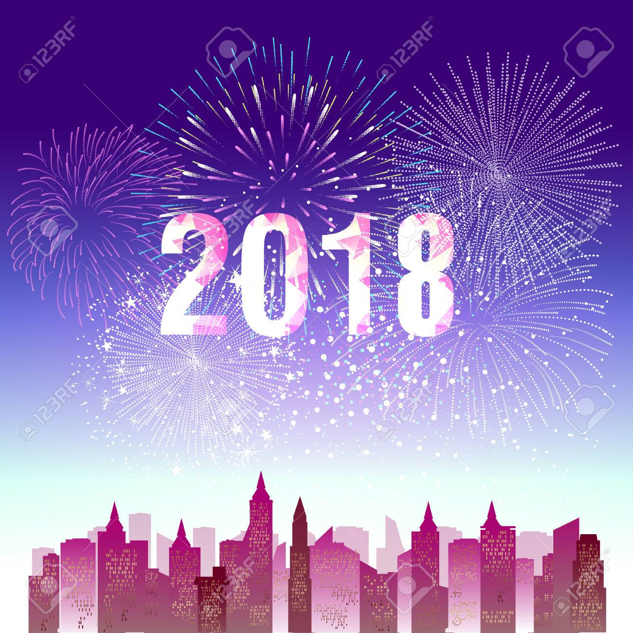 happy new year 2018 with firework background stock vector 86155420
