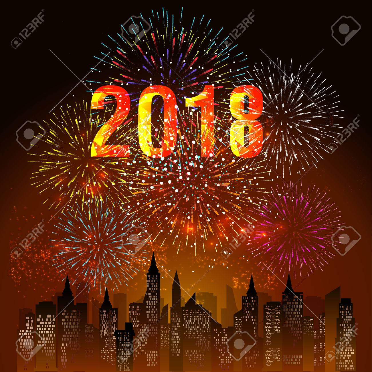 happy new year 2018 with firework background stock vector 86155425