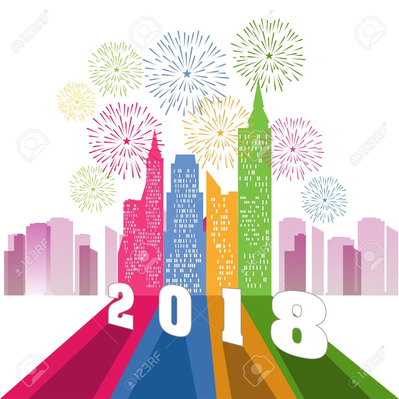happy new year 2018 with firework background stock vector 86155429