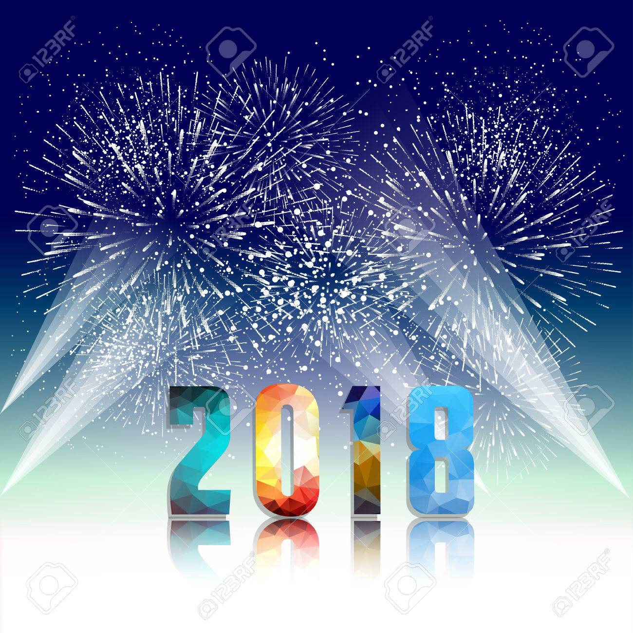 happy new year 2018 with firework background stock vector 86155432