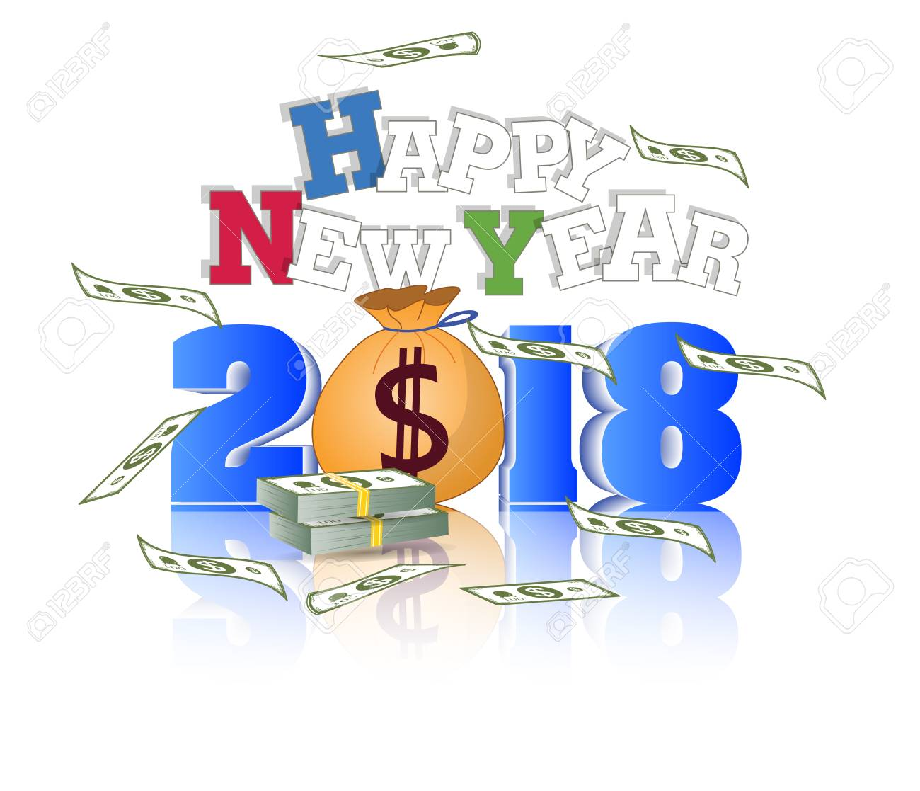 happy new year 2018 with champagne glasses and firework bacground stock vector 87405838