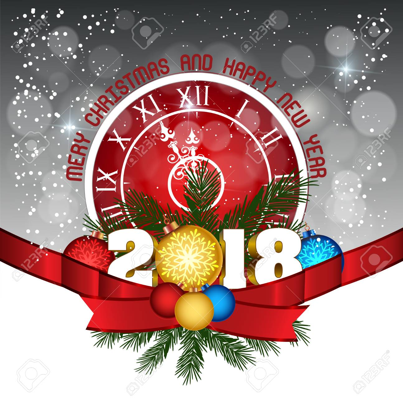 Postcard Happy New Year 2018 And Merry Christmas Royalty Free ...