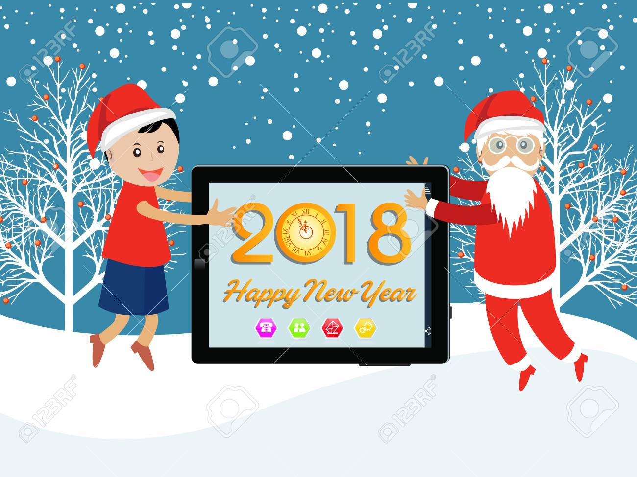 postcard happy new year 2018 and merry christmas with funny kids stock vector 87929446